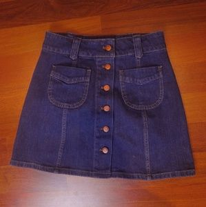 Madewell Denim Button Mini Skirt
